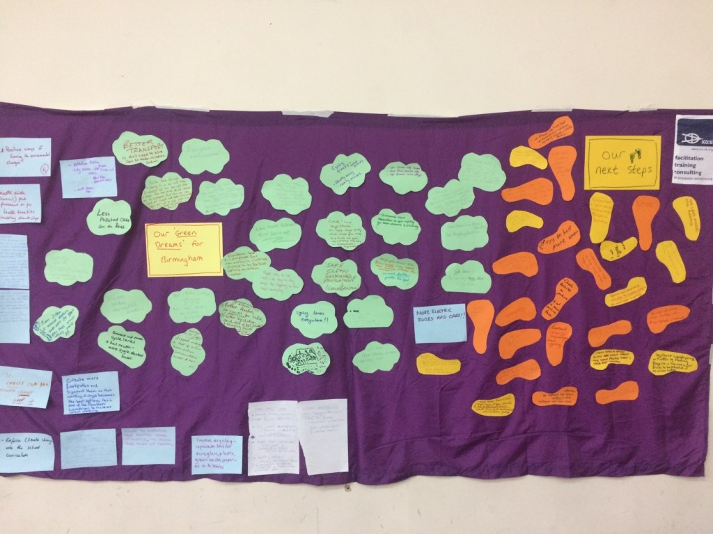 A purple wall dotted with ideas from participants.