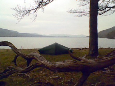 Camping on shores of loch maree