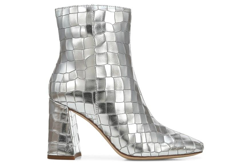 Сэм Эдельмен сапоги, серебряные сапоги, блестящие сапоги