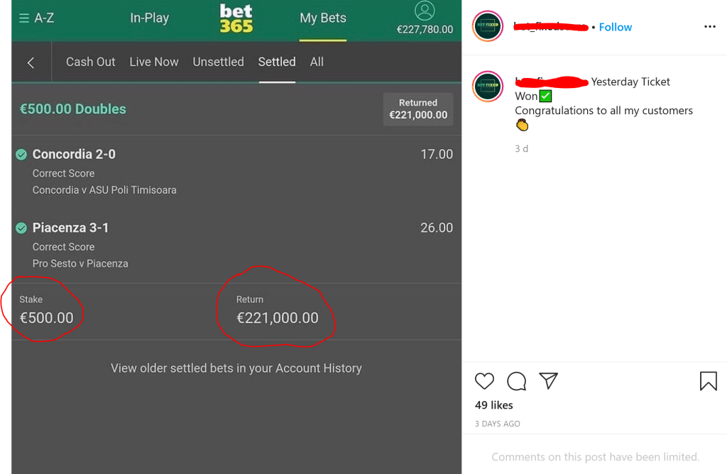 Instagram fixed matches scammers