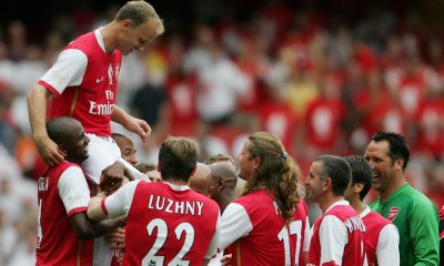 LONDON - JULY 22:  Dennis Bergkamp of Arsenal is carried aloft by teammates, following his final game during the Dennis Bergkamp testimonial match between Arsenal and Ajax at the Emirates Stadium on July 22, 2006 in London, England.  (Photo by Jamie McDonald/Getty Images)