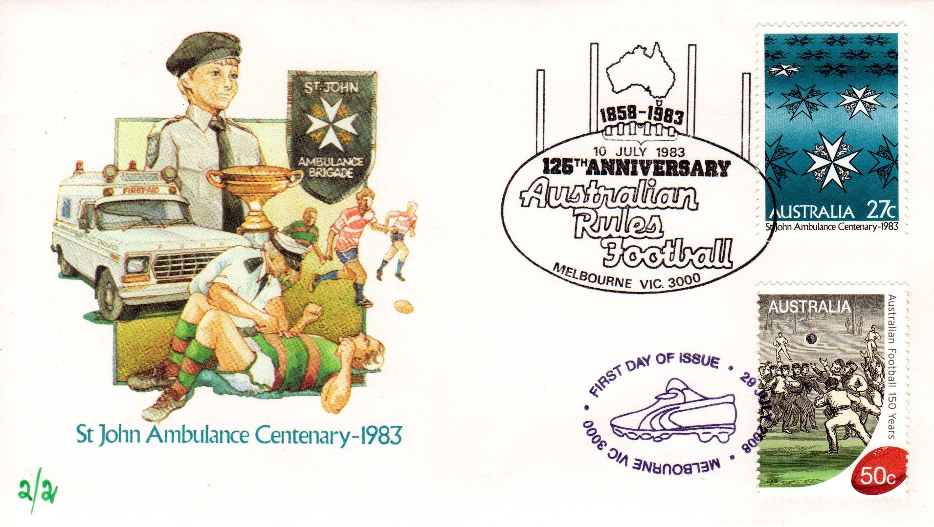 LE FDC MS 150 Years of Australian Football