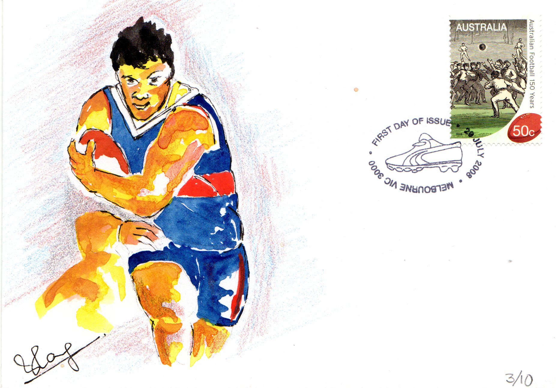 Hand Painted Cover 150 Years of Australian Football