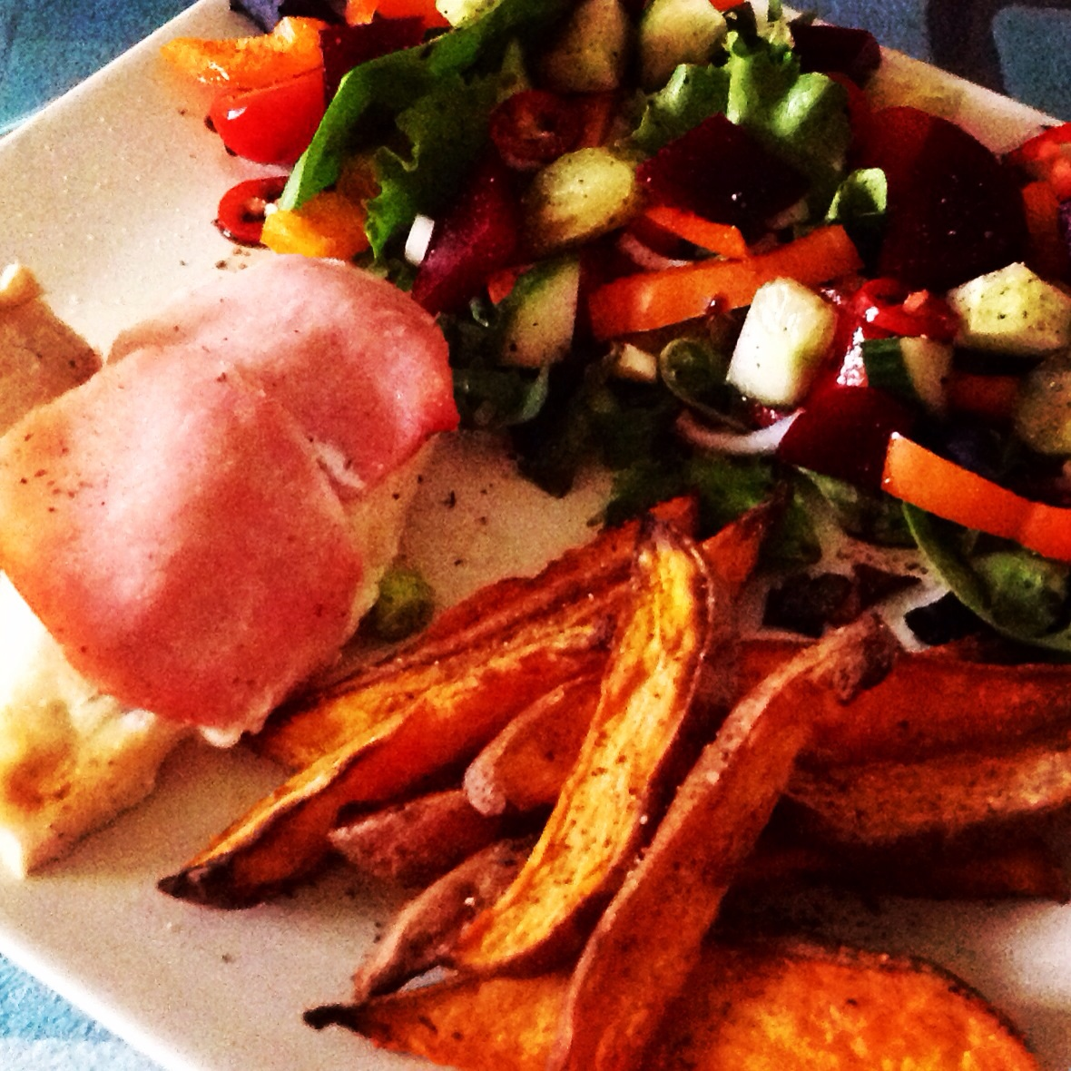chicken stuffed with quark and garlic wrapped in bacon sweet potato