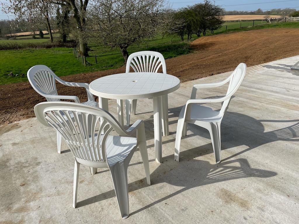 white plastic patio tables chairs job lot northamptonshire