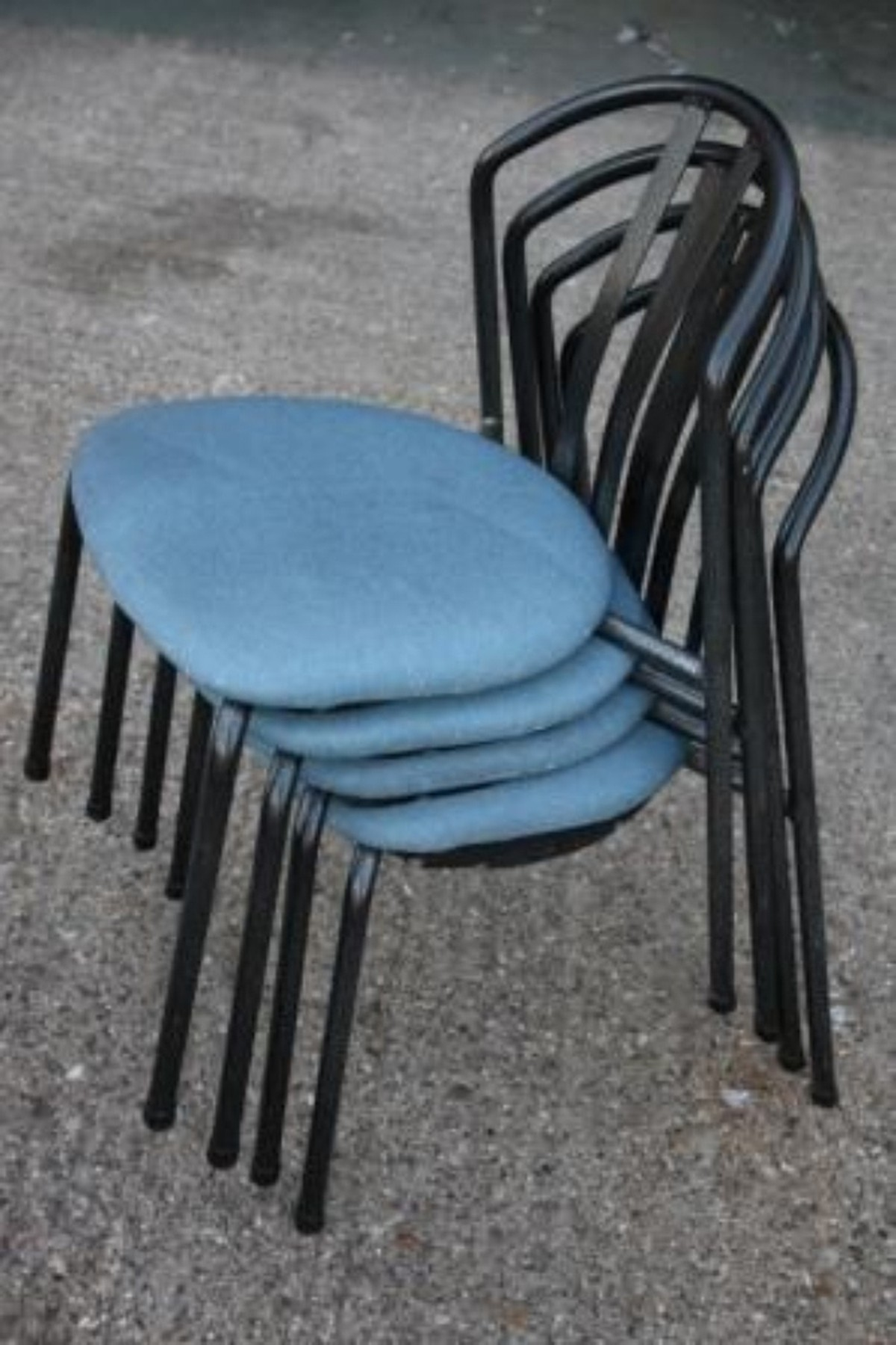 blue metal folding chairs dining chair seat covers walmart secondhand and tables | cafe or bistro & black cushioned canteen ...
