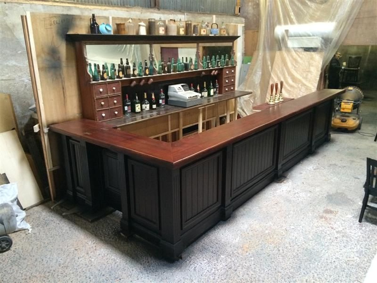 Secondhand Vintage and Reclaimed  Bar and Pub  Old Reclaimed Mahogany Bar Counter and Back