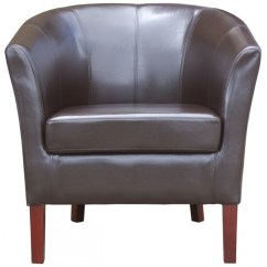 Tub Chair Brown Leather Office Grey Secondhand Pub Equipment Chairs New Faux