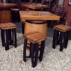 Whiskey Barrel Pub Table And Chairs Bedroom Cheap Secondhand Vintage Reclaimed Bar Square