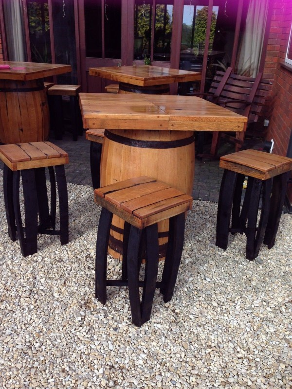 Whiskey Barrel Pub Table and Chairs