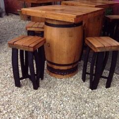 Whiskey Barrel Pub Table And Chairs Diffrient World Chair Secondhand Equipment Tables Square Top Oak