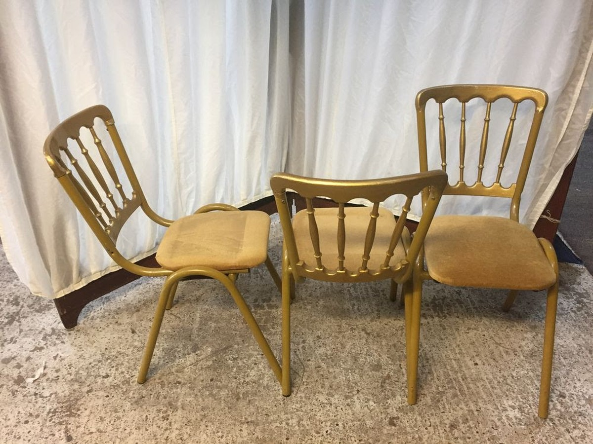 steel chair gold korum fishing spare parts secondhand chairs and tables frame banqueting