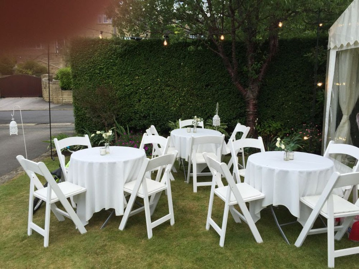 wedding chair cover hire west yorkshire troutman company secondhand chairs and tables folding 100 43 white