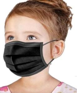 Mascarilla para niños color liso negro