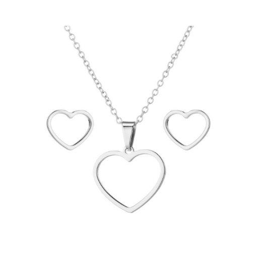 Conjunto collar y pendientes Corazón calado de acero