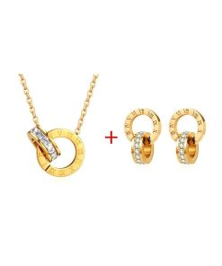 Conjunto  collar y pendientes diseño números romanos enlazados con cristal