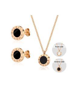 Conjunto  collar y pendientes diseño números romanos con piedra negra
