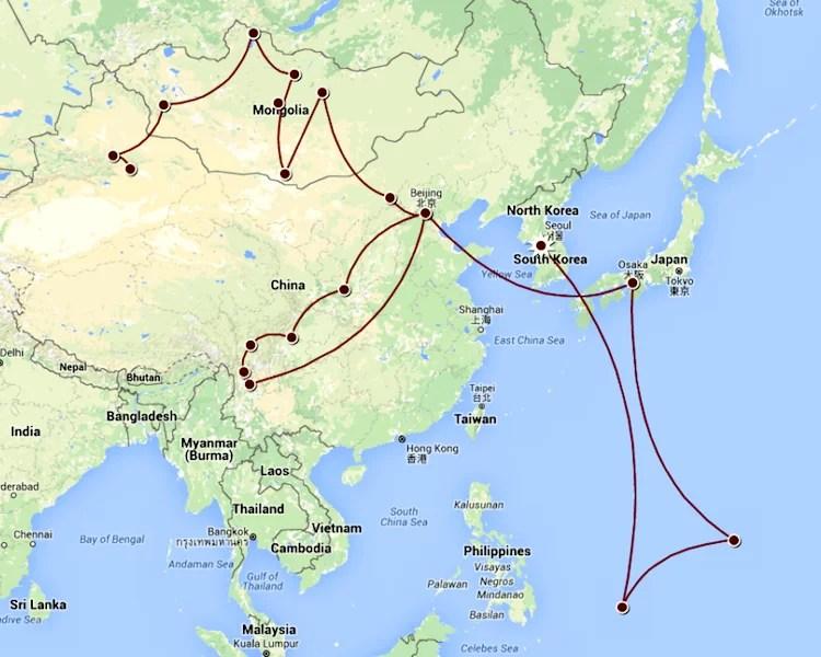 Essa é o itinerário que tentaremos fazer. A passagem pelo Japão e Pequim no inicio são só conexões.