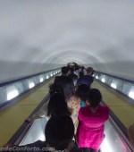 Escada rolante do metrô de Pyongyang Coreia do Norte