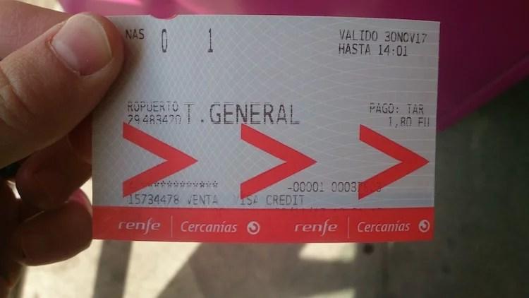 Bilhete do trem do aeroporto de Malaga