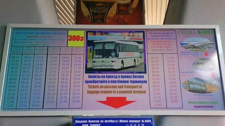 Horário de ônibus do aeroporto de Minsk