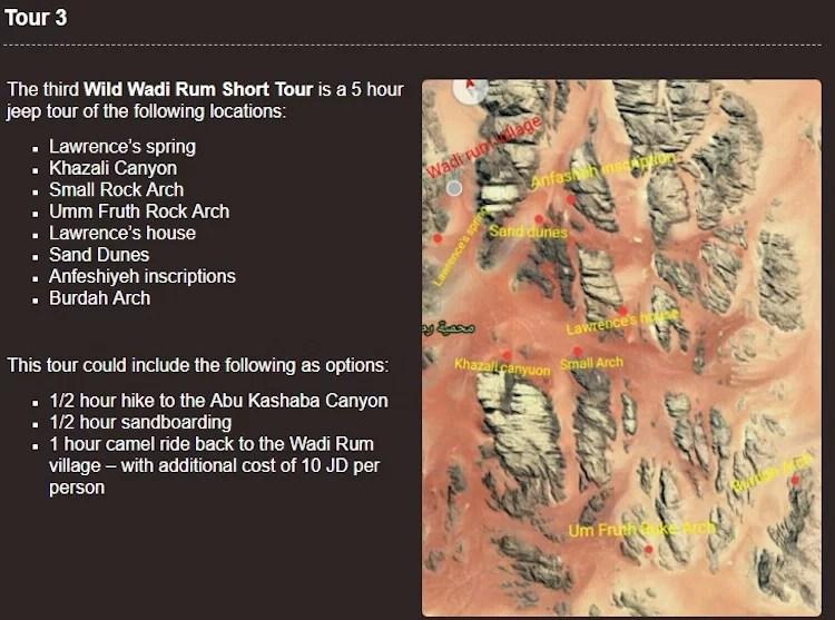 Mapa das atrações de Wadi Rum