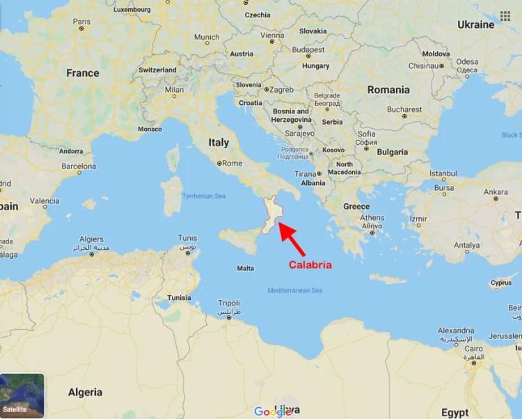 Mapa da Calábria