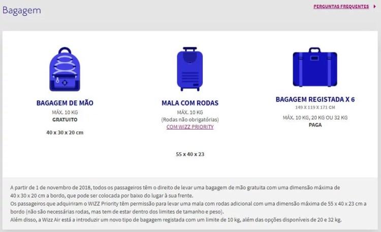 wizzair bagagem para voos low cost da europa