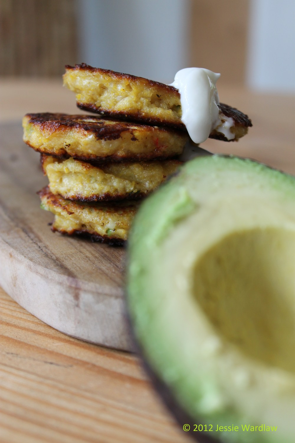 Cornbread Fritters with Soured Cream and Guacamole