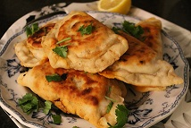 Turkish lamb-stuffed flatbreads with cacik
