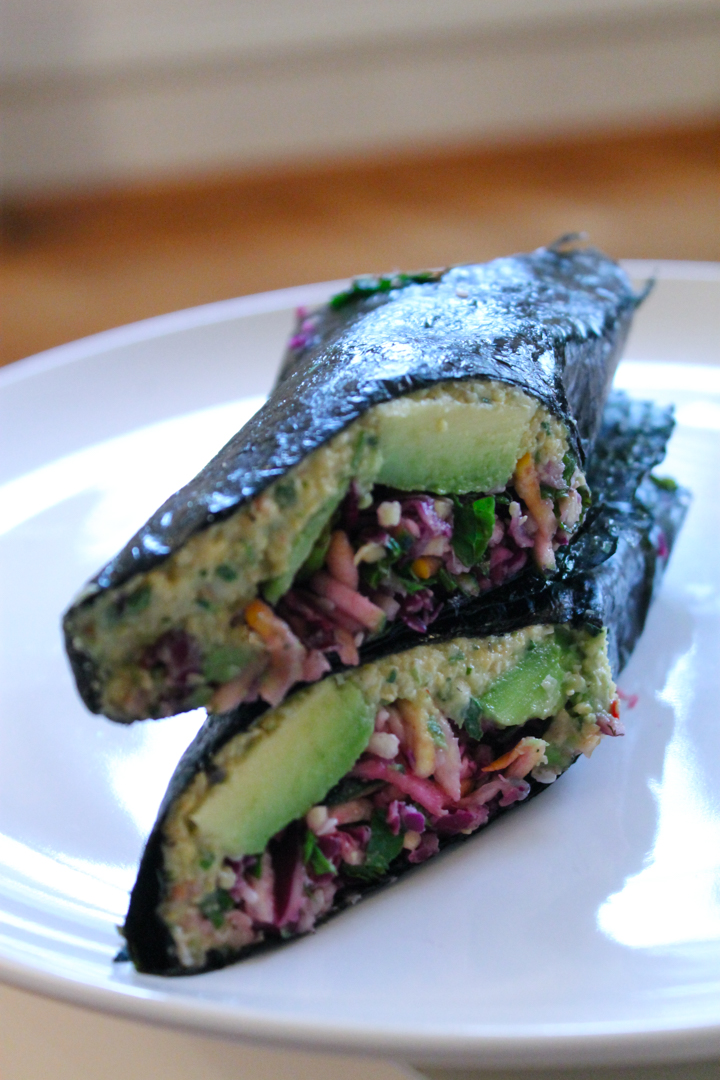 Nori hummus and raw slaw Wraps