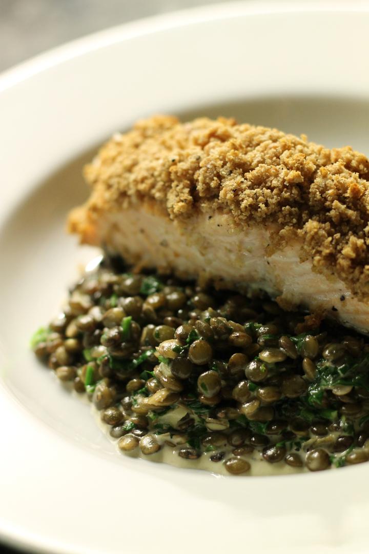 Creamy Lentils, Crunchy Salmon