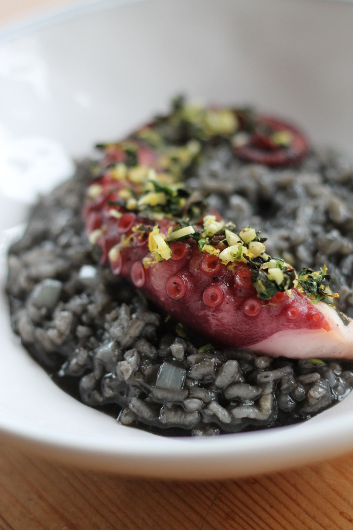 Squid Ink Risotto with Chargrilled Octopus and Gremolata