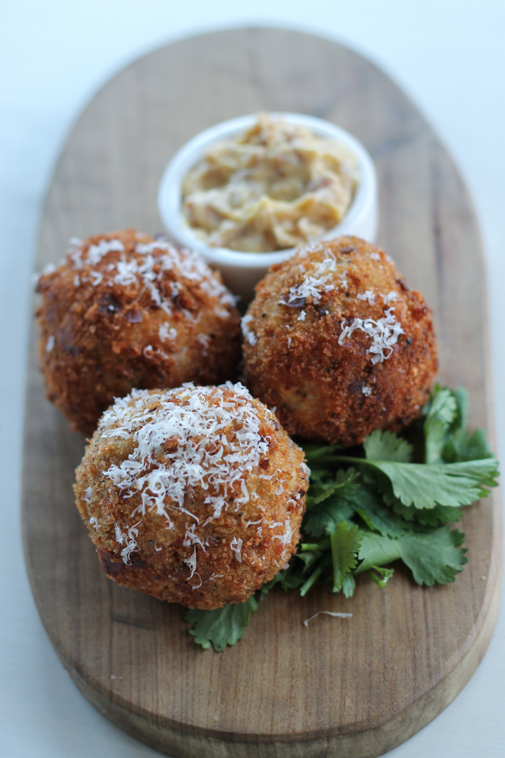 Leek and Parmesan Arancini, Smokey Bacon Mayonnaise