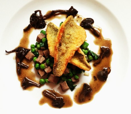 Perch With Yellowfoot Mushrooms, Tongue, Peas, and Ramps
