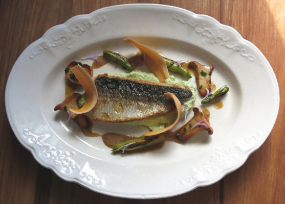 lake herring with chanterelles, soy vinegar sauce, and day lillies