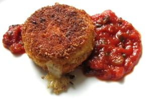 cheese stuffed puffball mushrooms with ramp ketchup.