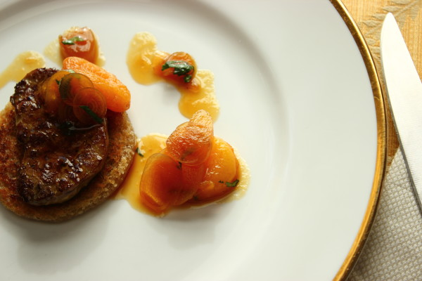 foie gras with pickled ramp-apricot syrup