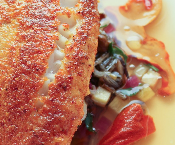 lobster mushroom crusted walleye