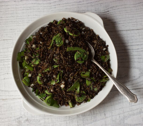 Black grain salad with ramps and fiddles._-5