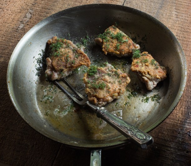 Pheasant thigh confit with herb borraccino