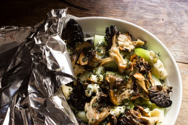 hen of the woods recipe with leeks
