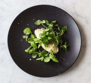 celery root salad with chickweed and watercress