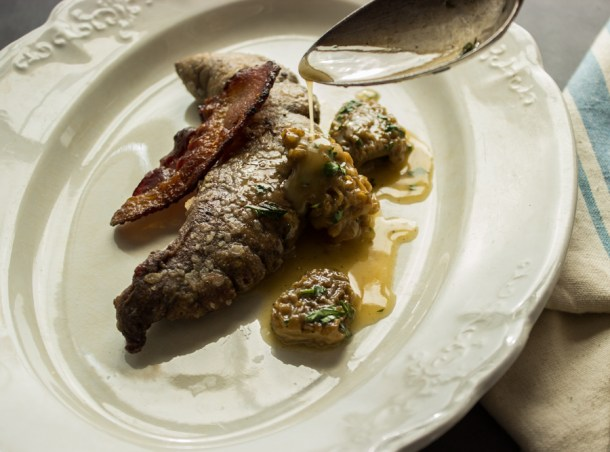 shad roe, pickled morels, bacon