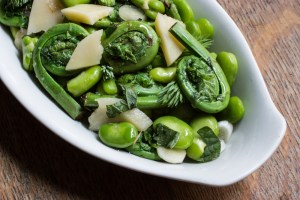 Fiddlehead-Fava Bean Salad With Pecorino, Peppermint and Spruce