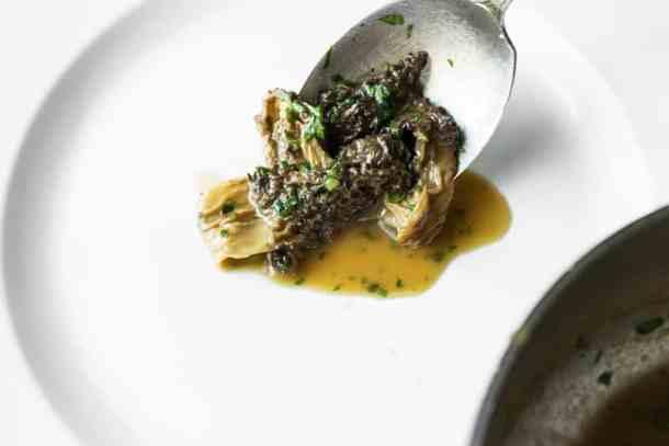 ricotta cheese and ramp tart with morel mushroom jus
