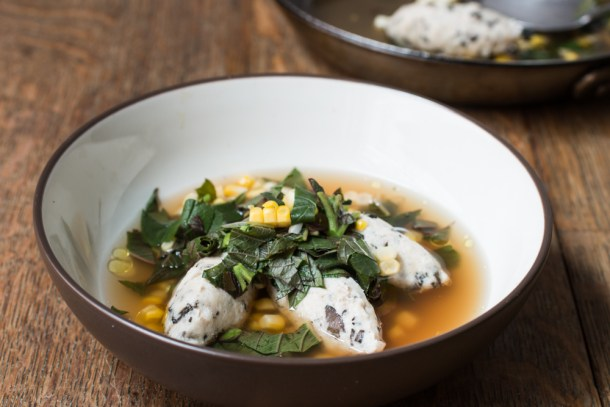 Peacock dumplings with black trumpet mushrooms, sweet corn and amaranth