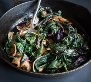 Wilted Amaranth With Summer Wild Mushrooms and Chesnok Garlic