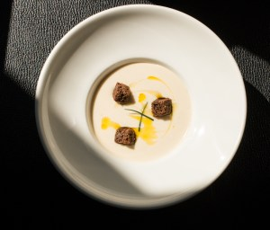 Spring dug parsnip soup with acorn oil