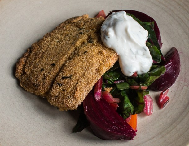 pickled ramp aioli with northern pike and roasted beets